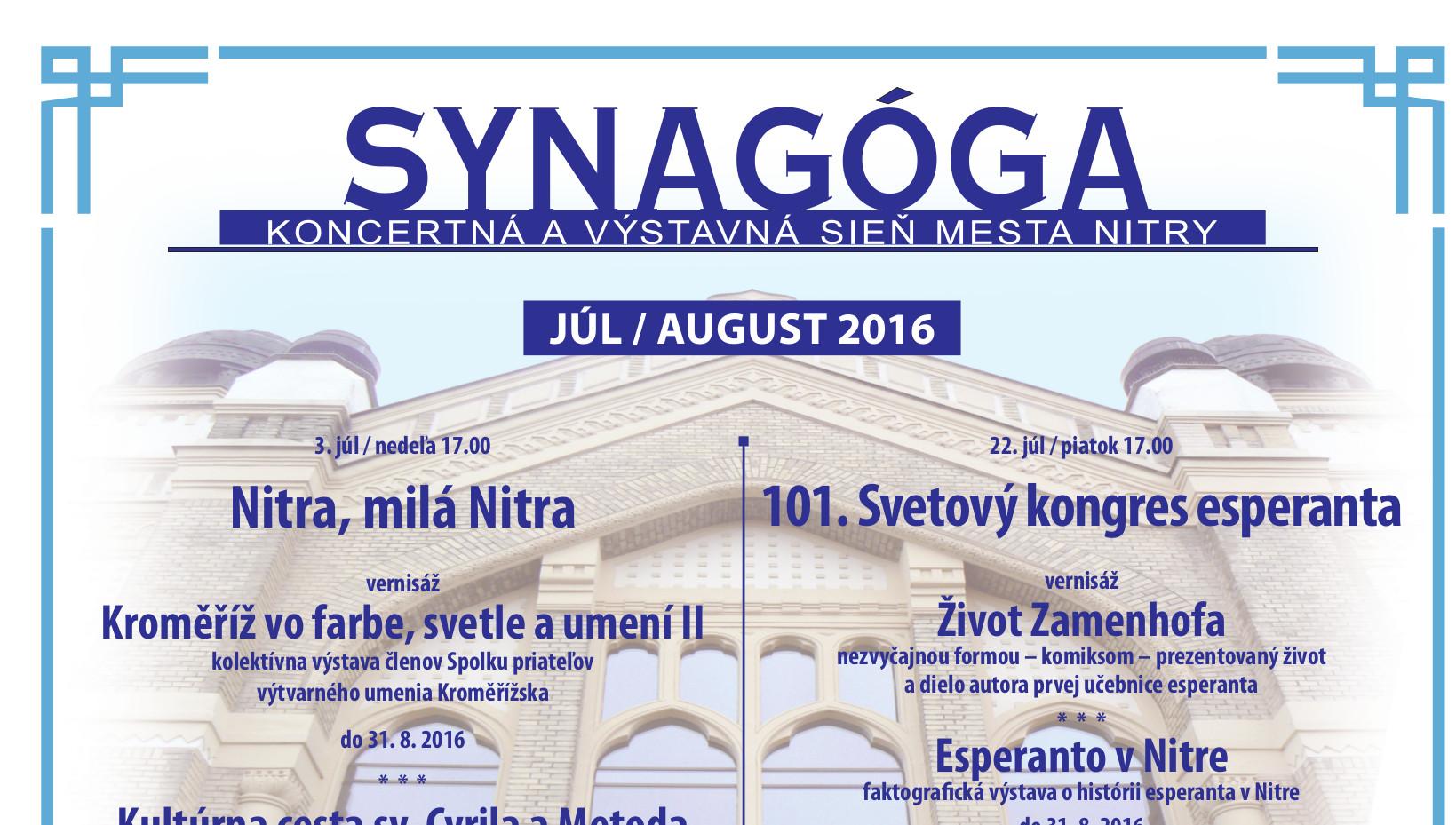 Letná Synagóga - JÚL   AUGUST 2016 - Kam v meste  2a6b7098b47